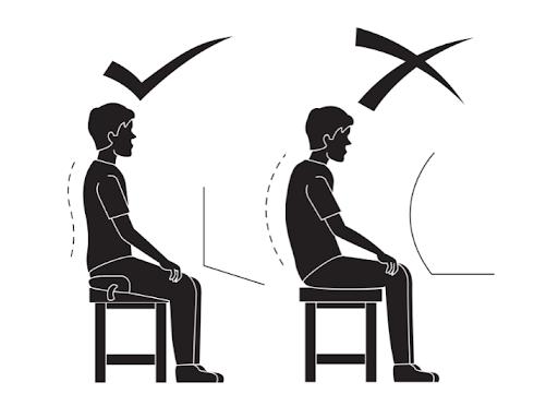 correct angle posture cushion wedge vs bad seating without posture wedge