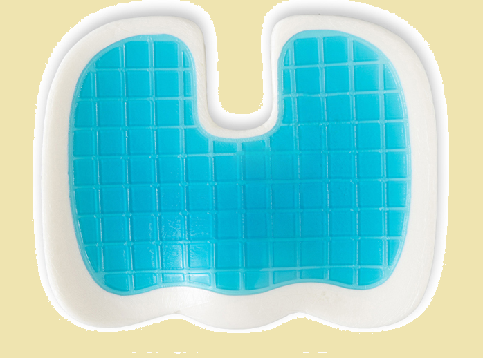 gel cooling pad on the top of a foam wedge