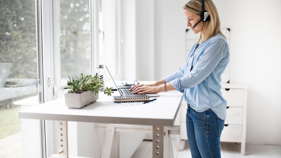 woman standing desk